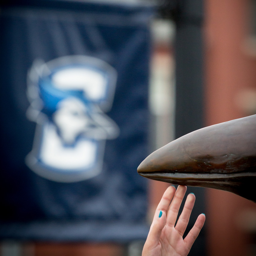 Creighton-logo-and-hand-touching-Billy-bluejay