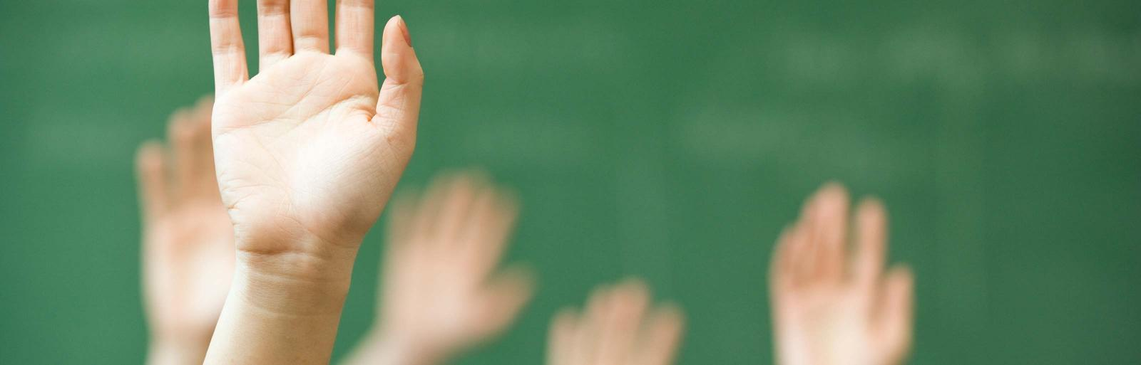 Raised hands in class