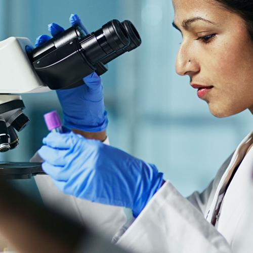 Person at a microscope working in a lab